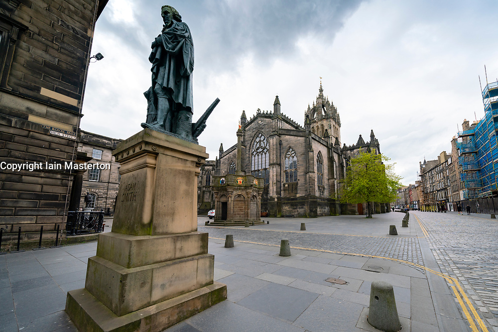 View of statue of Adam Smith on the Royal Mile during covid-19 lockdown in Edinburgh Old Town, Scotland, UK