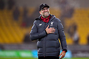 Liverpool Manager Jürgen Klopp celebrates at full time during the Premier League match between Wolverhampton Wanderers and Liverpool at Molineux, Wolverhampton, England on 23 January 2020.