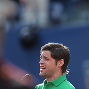 "Tony and Grammy nominated singer Jeremy Jordan sings  ""America the Beautiful"" as the American flag is unveiled by the United States Marine Corps before the Men's Singles Final between Rafael Nadal, Spain, and Novak Djokovic, Serbia, at the US Open, Flushing. New York, USA. 9th September 2013. Photo Tim Clayton"