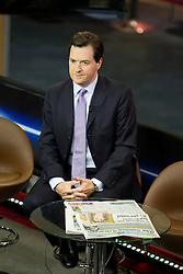 © Licensed to London News Pictures. 07/10/2012. Birmingham , UK . Chancellor George Osborne talking to Murnaghan on Sky News . Conservative Party Conference Day 1 at the International Convention Centre . Photo credit : Joel Goodman/LNP