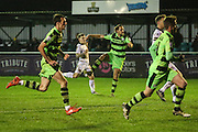 Forest Green Rovers Darren Carter(12) shoots at goal scores a goal 0-1 during the FA Trophy match between Truro City and Forest Green Rovers at Treyew Road, Truro, United Kingdom on 13 December 2016. Photo by Shane Healey.