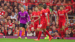 13.09.2014, Anfield, Liverpool, ENG, Premier League, FC Liverpool vs Aston Villa, 4. Runde, im Bild Liverpool's goalkeeper Simon Mignolet looks dejected as Aston Villa score the opening goal // during the English Premier League 4th round match between Liverpool FC and Aston Villa at the Anfield in Liverpool, Great Britain on 2014/09/13. EXPA Pictures &copy; 2014, PhotoCredit: EXPA/ Propagandaphoto/ David Rawcliffe<br /> <br /> *****ATTENTION - OUT of ENG, GBR*****