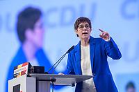 22 NOV 2019, LEIPZIG/GERMANY:<br /> Annegret Kramp-Karrenbauer, CDU Bundesvorsitzende und Bundesverteidigungsministerin, haelt eine Rede, CDU Bundesparteitag, CCL Leipzig<br /> IMAGE: 20191122-01-087<br /> KEYWORDS: Parteitag, party congress