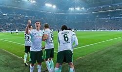 03.02.2018, Veltins Arena, Gelsenkirchen, GER, 1. FBL, Schalke 04 vs SV Werder Bremen, 21. Runde, im Bild Jubel um Zlatko Junuzovic (SV Werder Bremen #16) nach dessen Treffer zum 2:1 für die Gäste, Max Kruse (SV Werder Bremen #10) im Vordergrund mit geballter Faust // during the German Bundesliga 21th round match between Schalke 04 and SV Werder Bremen at the Veltins Arena in Gelsenkirchen, Germany on 2018/02/03. EXPA Pictures © 2018, PhotoCredit: EXPA/ Andreas Gumz<br /> <br /> *****ATTENTION - OUT of GER*****