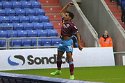 Duane Holmes Scunthorpe Midfielder celebrates his goal during the EFL Sky Bet League 1 match between Oldham Athletic and Scunthorpe United at Boundary Park, Oldham, England on 28 October 2017. Photo by George Franks.