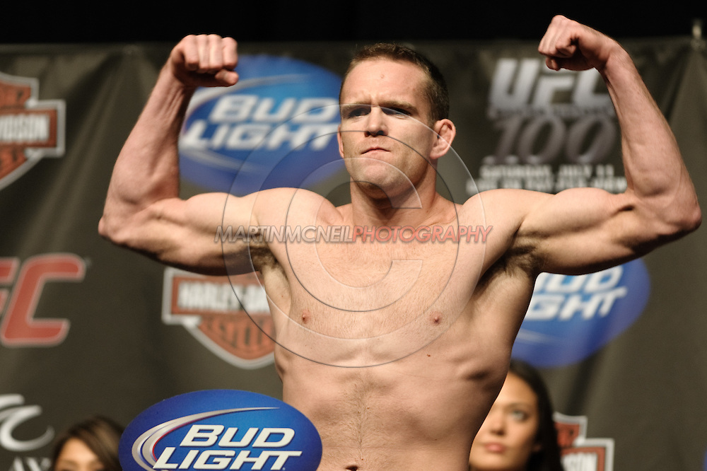 LAS VEGAS, NEVADA, JULY 10, 2009: TJ Grant poses on the scales during the weigh-in for UFC 100 inside the Mandalay Bay Events Center in Las Vegas, Nevada