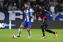 October 28, 2018 - Porto, Porto, Portugal - Porto's Brazilian defender Felipe (L) vies with Feirense's Portuguese forward Edinho (R) in action during the Premier League 2018/19 match between FC Porto and CD Feirense, at Dragao Stadium in Porto on October 28, 2018. (Credit Image: © Dpi/NurPhoto via ZUMA Press)