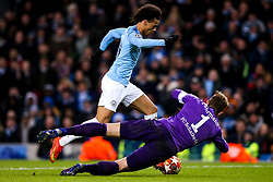 Leroy Sane of Manchester City goes round Ralf Fahrmann of Schalke - Mandatory by-line: Robbie Stephenson/JMP - 12/03/2019 - FOOTBALL - Etihad Stadium - Manchester, England - Manchester City v Schalke - UEFA Champions League, Round of 16, 2nd leg