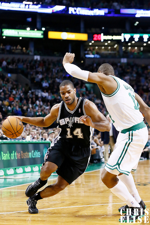 21 November 2012: San Antonio Spurs point guard Gary Neal (14) drives past Boston Celtics shooting guard Leandro Barbosa (12) during the San Antonio Spurs 112-100 victory over the Boston Celtics at the TD Garden, Boston, Massachusetts, USA.