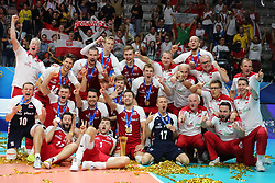 September 30, 2018 - Turin, Piedmont, Italy - The Polish team celebrates the World Cup victory after the final match between Brazil and Poland for the FIVB Men's World Championship 2018 at Pala Alpitour in Turin, Italy, on 30 September 2018. Poland won 3: 0 and it is confirmed world champion. (Credit Image: © Massimiliano Ferraro/NurPhoto/ZUMA Press)