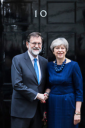 © Licensed to London News Pictures. 05/12/2017. London, UK. Prime Minister Theresa May greets Prime Minister of Spain Mariano Rajoy outside 10 Downing Street. Photo credit: Rob Pinney/LNP