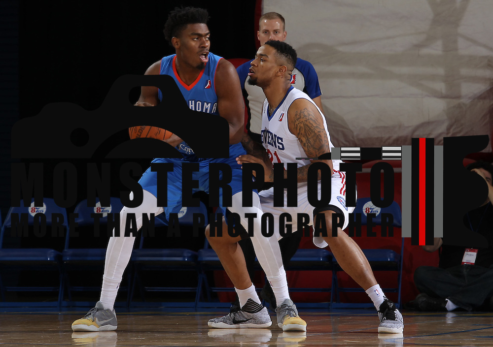 Delaware 87ers Center SHAWN LONG (21) defends Oklahoma City Blue Center DAKARI JOHNSON (44) defends in the first half of a NBA D-league regular season basketball game between the Delaware 87ers and the Oklahoma City Blue (Oklahoma City Thunder) Tuesday, Dec. 13, 2016, at The Bob Carpenter Sports Convocation Center in Newark, DEL
