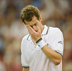 LONDON, ENGLAND - Monday, June 29, 2009: Andy Murray (GBR) looks dejected as he loses the fourth set during the Gentlemen's Singles 4th Round match on day seven of the Wimbledon Lawn Tennis Championships at the All England Lawn Tennis and Croquet Club. (Pic by David Rawcliffe/Propaganda)