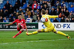 Alex Smithies of Queens Park Rangers saves a shot from Bobby Reid of Bristol City - Rogan Thomson/JMP - 18/10/2016 - FOOTBALL - Loftus Road Stadium - London, England - Queens Park Rangers v Bristol City - Sky Bet EFL Championship.