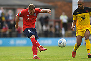 Kallum Griffiths of York City (2) has a shot that hits the bar during the Vanarama National League match between York City and Kidderminster Harriers at Bootham Crescent, York, England on 15 September 2018.