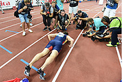 Karsten Warholm (NOR) does pushups after winning the 400m hurdles in a meet record 46.92 to become the third man to run under 47 seconds in the IAAF Diamond League final during the Weltkasse Zurich at Letzigrund Stadium, Thursday, Aug. 29, 2019, in Zurich, Switzerland. (Jiro Mochizuki/Image of Sport)