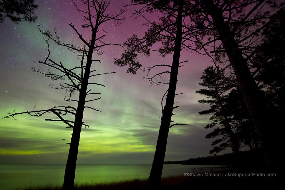 Northern Lights aurora over Lake Superior, Autrain area, Upper Peninsula of Michigan