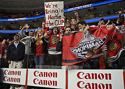 June 9, 2010; Philiadelphia, PA; USA;  Chicago Blackhawks fans celebrate after the Blackhawks defeated the Flyers 4-3 in Game 6 of the Stanley Cup Finals at the Wachovia Center.