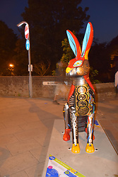 GoGoHares sculpture trail Norwich July 2018.  At the end of the summer the hares will be auctioned off for the charity Break. UK. Hare on Bishop Bridge