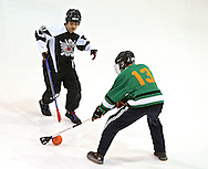 Davenport Darktown's Trey Mertz (top) works against Omaha The Sith Lords' Peter Todd during their broomball game part of the Winter Iowa Games at the Cedar Rapids Ice Arena, 1100 Rockford Road SW, in Cedar Rapids on Saturday evening, February 12, 2011. Omaha The Sith Lords defeated Davenport Darktown 5-0.