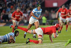 June 16, 2018 - Santa Fe, Argentina - Cory Hill (C) from Wales is tackled by Matias Alemanno (bottom) from Argentina during the International Test Match between Argentina and Wales at the Brigadier Estanislao Lopez Stadium, on June 16, 2018 in Sante Fe, Argentina. (Credit Image: © Javier Escobar/NurPhoto via ZUMA Press)