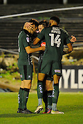 Craig Tanner (27) of Plymouth Argyle celebrates scoring a goal to give a 2-0 lead to the home team with Connor Smith (6) of Plymouth Argyle and Jake Jervis (14) of Plymouth Argyle during the EFL Sky Bet League 2 match between Plymouth Argyle and Crawley Town at Home Park, Plymouth, England on 31 December 2016. Photo by Graham Hunt.