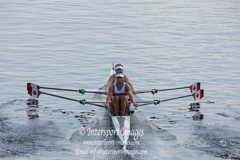 Hamburg. GERMANY. CAN JM2X. Lucien BRODEUR and Nicholas TAVARES.   Friday, Morning Quarter Finals at the 2014 FISA Junior World rowing. Championships.  12:06:50  Friday  08/08/2014  [Mandatory Credit; Peter Spurrier/Intersport-images]