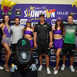 Durban South Africa -  December 3, Hollywoodbets Lubabalo Tera Mtembu with Cobus Reinach , Robbie Frylinck and David Miller of the Sunfoil Dolphins during the joint announcement by Hollywoodbets, Cell C, the Sunfoil Dolphins and the Cell C Sharks at the President Suite at Sahara Stadium Kingsmead.Sahara Stadium Kingsmead (Photo by Steve Haag)images for social media must have consent from Steve Haag
