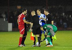 Bristol Rovers' Steve Mildenhall finds a coin or three !! - Photo mandatory by-line: Neil Brookman/JMP - Mobile: 07966 386802 - 11/11/2014 - SPORT - Football - Derbyshire - North Street - Alfreton Town v Bristol Rovers - Vanarama Conference