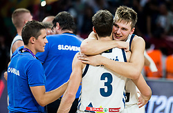 Goran Dragic of Slovenia and Luka Doncic of Slovenia celebrating after winning during the Final basketball match between National Teams  Slovenia and Serbia at Day 18 of the FIBA EuroBasket 2017 when Slovenia became European Champions 2017, at Sinan Erdem Dome in Istanbul, Turkey on September 17, 2017. Photo by Vid Ponikvar / Sportida