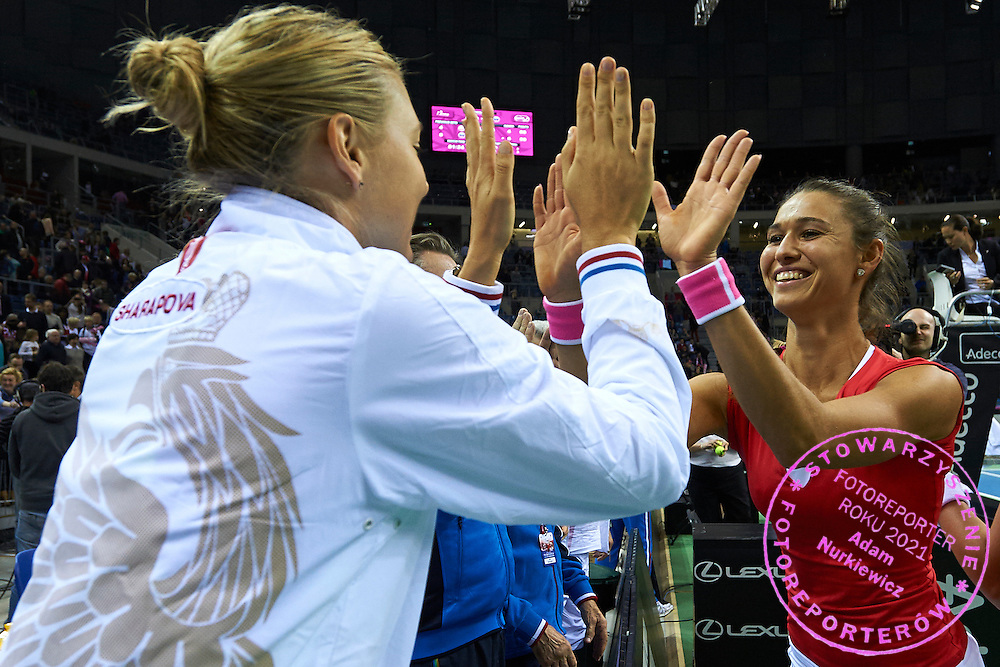 (L) Maria Sharapova cogratulates to Vitalia Diatchenko both from Russia during Second Day of the Fed Cup / World Group 1st round tennis match between Poland and Russia at Tauron Krakow Arena on February 8, 2015 in Cracow, Poland.<br /> <br /> Poland, Cracow, February 8, 2015<br /> <br /> Picture also available in RAW (NEF) or TIFF format on special request.<br /> <br /> For editorial use only. Any commercial or promotional use requires permission.<br /> <br /> Adam Nurkiewicz declares that he has no rights to the image of people at the photographs of his authorship.<br /> <br /> Mandatory credit:<br /> Photo by &copy; Adam Nurkiewicz / Mediasport
