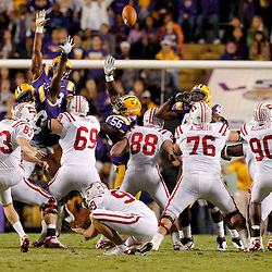 November 12, 2011; Baton Rouge, LA, USA; Western Kentucky Hilltoppers kicker Casey Tinius (83) misses a field goal against the LSU Tigers during the second quarter of a game at Tiger Stadium.  Mandatory Credit: Derick E. Hingle-US PRESSWIRE