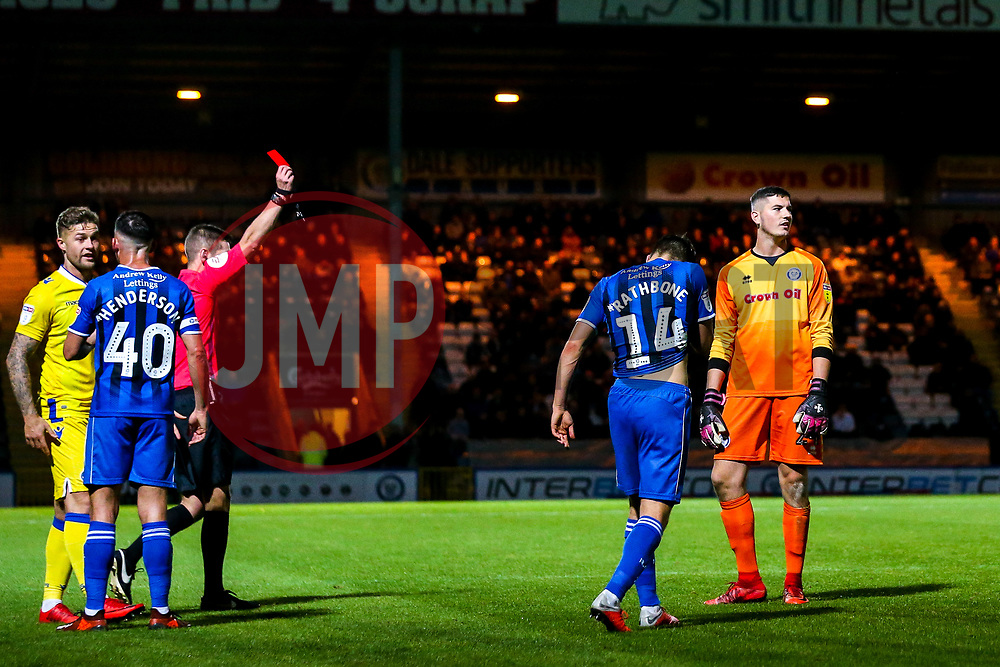 Magnus Norman of Rochdale is shown a red card and sent off - Mandatory by-line: Robbie Stephenson/JMP - 02/10/2018 - FOOTBALL - Crown Oil Arena - Rochdale, England - Rochdale v Bristol Rovers - Sky Bet League One