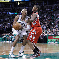 06 March 2012: Houston Rockets point guard Kyle Lowry (7) defends on Boston Celtics small forward Paul Pierce (34) during the Boston Celtics 97-92 (OT) victory over the Houston Rockets at the TD Garden, Boston, Massachusetts, USA.