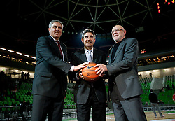 Radovan Lorbek, Euroleague Board Member and President of the NLB League ABA, Jordi Bertomeu, Euroleague Basketball CEO and Janez Rajgelj, director of KK Union Olimpija prior to the basketball match between KK Union Olimpija (SLO) and Armani Jeans Milano (ITA) in Group D of Turkish Airlines Euroleague, on December 2, 2010 in SRC Stozice, Ljubljana, Slovenia. (Photo By Vid Ponikvar / Sportida.com)