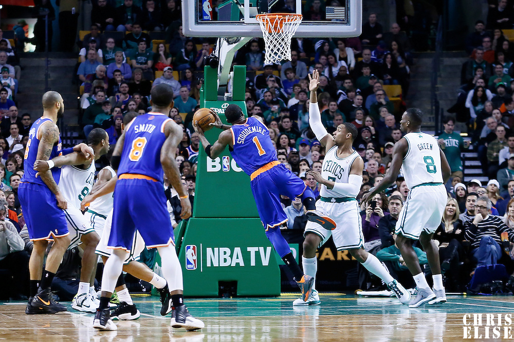 24 January 2013: New York Knicks power forward Amar'e Stoudemire (1) is fouled by Boston Celtics power forward Jared Sullinger (7) during the New York Knicks 89-86 victory over the  at the TD Garden, Boston, Massachusetts, USA.