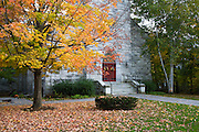 Fall colors in front of a stone church in southern Vermont.