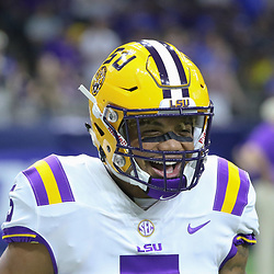 Sep 2, 2017; New Orleans, LA, USA; LSU Tigers running back Derrius Guice (5) before the AdvoCare Texas Kickoff game against the Brigham Young Cougars at the Mercedes-Benz Superdome. Mandatory Credit: Derick E. Hingle-USA TODAY Sports