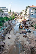 January 24, 2019 Israel, Tel Aviv Work is proceeding for the construction of the Light Rail Red Line in the old Ottoman route to Jaffa