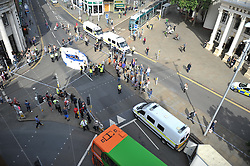 Activists outside Nottingham Theatre Royal shut down part of the city centre tram and bus network to protest for social justice movement Black Lives Matter.