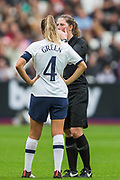 Abigail Bryne (Referee) in conversation with Josie Green (Capt)(Tottenham Hotspur) during the FA Women's Super League match between West Ham United Women and Tottenham Hotspur Women at the London Stadium, London, England on 29 September 2019.