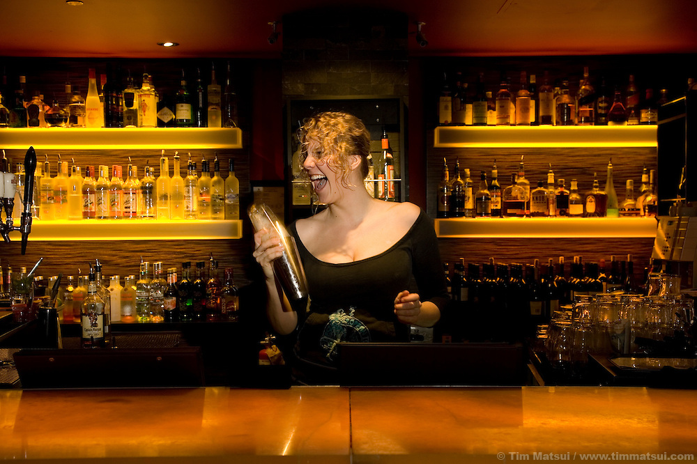 Bartender Brandi Hitchon at the Mix, a bar at Whistler-Blackcomb ski resort in British Columbia, Canada.