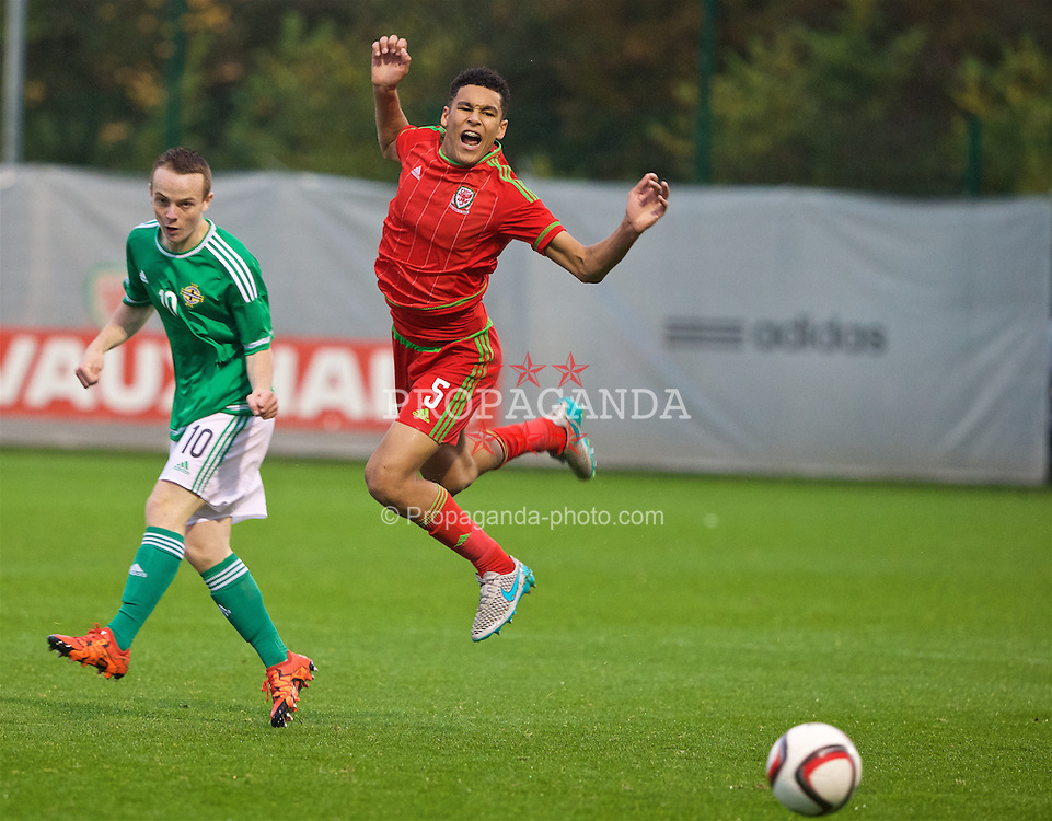 NEWPORT, WALES - Thursday, November 5, 2015: Wales' Benjamin Cabango in action against Northern Ireland during the Under-16's Victory Shield International match at Dragon Park. (Pic by David Rawcliffe/Propaganda)