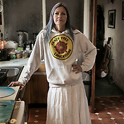 Nicci Wood, photographed in her home in St Anne's, Blackpool. From 'the Walk for Calm - the Women in White of Lancashire'