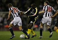Photo: Rich Eaton.<br /> <br /> West Bromwich Albion v Cardiff City. Carling Cup. 25/09/2007. Cardiff's Jimmy Floyd Hasselbaink (C) battles with James Morrison (L) and Craig Beattie (R).