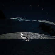 Climbers using headlamps and moonlight climb Mount Rainier as the Big Dipper glows overhead during a summit of the mountain on June 30, 2015. The iconic Pacific Northwest volcano is a popular challenge for mountaineers.  (Joshua Trujillo, seattlepi.com)
