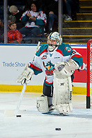 KELOWNA, CANADA - JANUARY 17: Cole Tisdale #30 of the Kelowna Rockets warms up against the Lethbridge Hurricanes on January 17, 2018 at Prospera Place in Kelowna, British Columbia, Canada.  (Photo by Marissa Baecker/Shoot the Breeze)  *** Local Caption ***