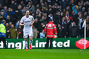 Leeds United defender Luke Ayling (2) scores a goal and celebrates to make the score 1-0 during the EFL Sky Bet Championship match between Leeds United and Bristol City at Elland Road, Leeds, England on 15 February 2020.