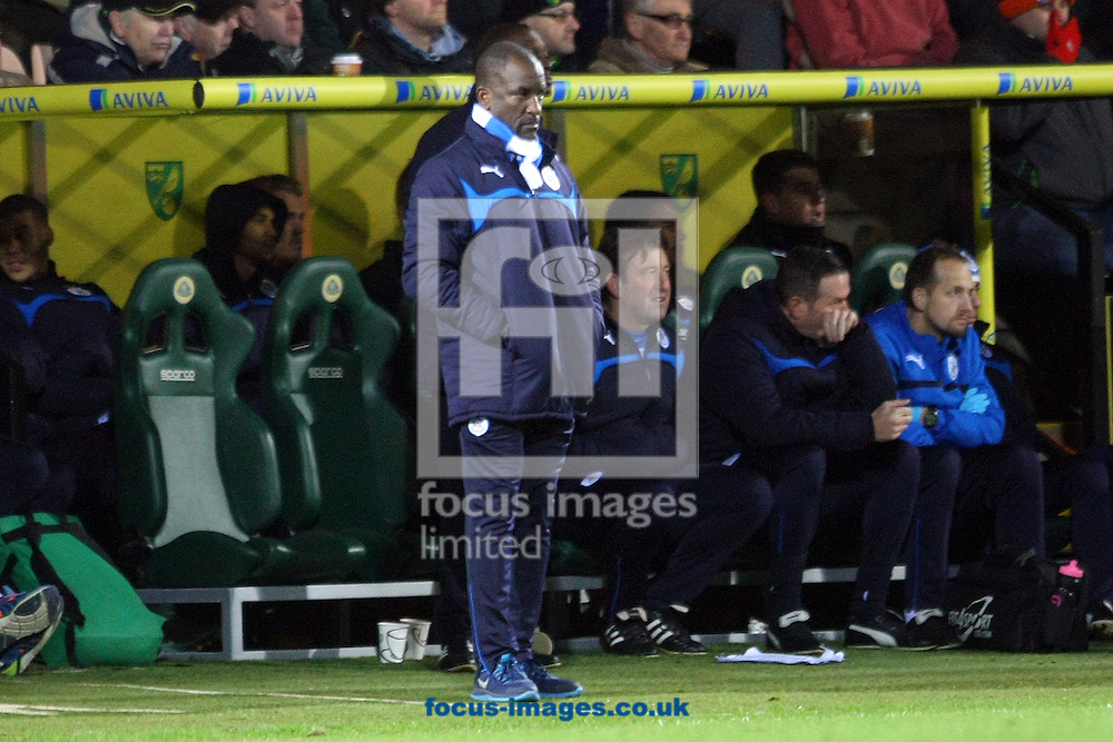 Huddersfield Manager Chris Powell looks unimpressed during the Sky Bet Championship match at Carrow Road, Norwich<br /> Picture by Paul Chesterton/Focus Images Ltd +44 7904 640267<br /> 13/12/2014