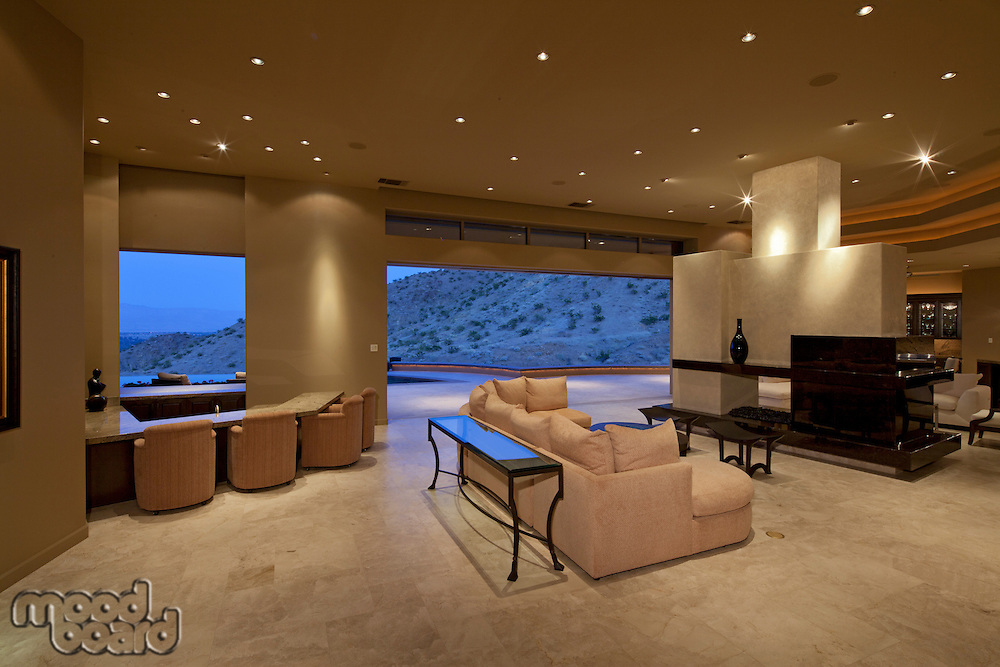 View of living room with big window in luxury house